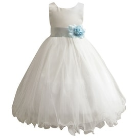 Wedding Easter Flower Girl Dress Paperio Ivory Rattail Satin Tulle (Baby - 14) Blue Sky