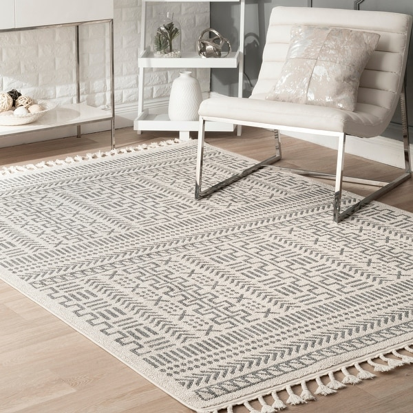 nuLOOM Tribal Geometric Trellis Area Rug with Tassel. Opens flyout.