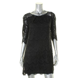 Signature By Robbie Bee Womens Petites Cocktail Dress Metallic Lace
