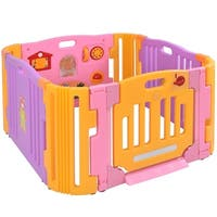 Costway 4 Panel Baby Playpen Kids Safety Play Center Yard Home Indoor Outdoor Pen - as pic