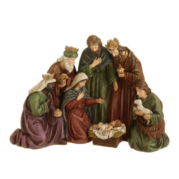 """17"""" Traditional Holy Family, Wisemen and Shepherd Nativity Table Top Christmas Decoration - multi"""