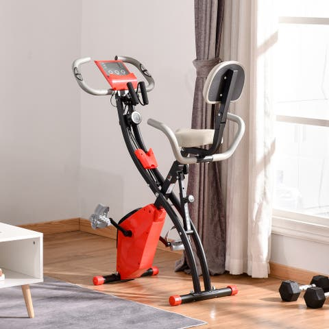 SOOZIER 2-In-1 Upright Exercise Recumbent Bike Adjustable Resistance Stationary Fitness Home Gym Foldable
