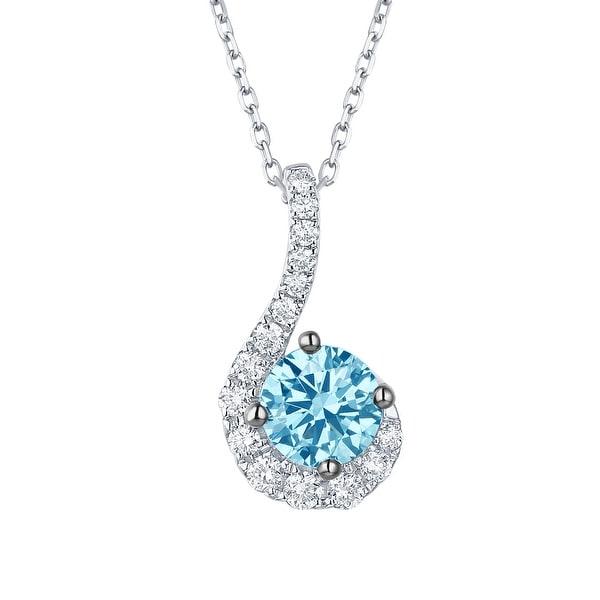 Smiling Rocks 0.96Ct Lab Grown Blue Color Diamond with G-H/VS1 Diamond Solitaire Pendant