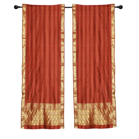 2 Boho Rust Indian Sari Curtains Rod Pocket Window Panels Drapes