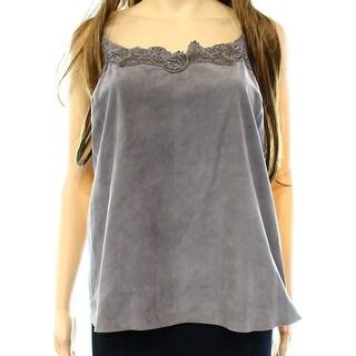 Lauren By Ralph Lauren NEW Gray Women Size 8 Lace-Trim Suede Camisole