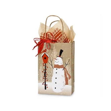 """Pack of 25, Rose Woodland Snowman 100% Rec Bags 5.5 X 3.25 X 8.5"""" For Christmas Packaging, Made In Usa."""