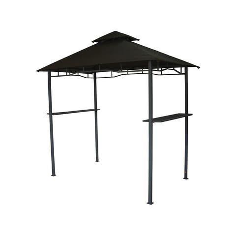 Aluminum Retractable Pergola with Canopy Outdoor Grill Gazebo - 106.3*98.43*20.5