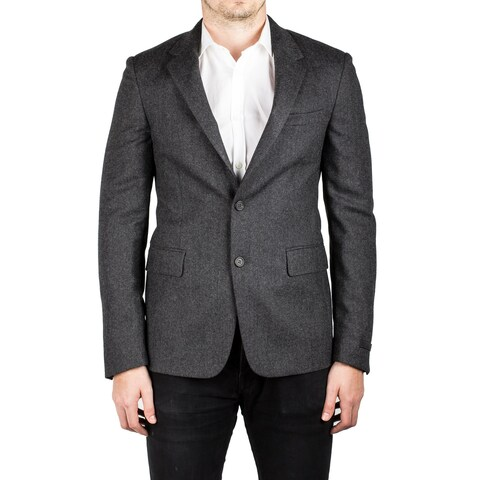 Prada Men's Notched Lapel Virgin Wool Viscose Sport Jacket Coat Blazer Grey