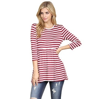 Riah Fashion's Quarter Sleeve Babydoll Striped Tunic
