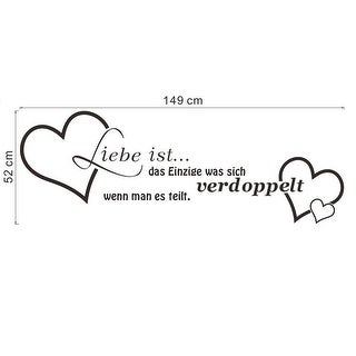 Unique Bargains Hearts German Pattern Sitting Room Removable Art Decal Quote Wall Sticker 112x43cm