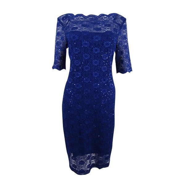Connected Women's Sequined Lace Sheath Dress - Deep Blue
