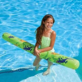 "60"" Green, Purple and Orange Inflatable Gecko Hawaii Swimming Pool Fun Noodle Float - Green"