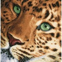 """13.75""""X13.5"""" 14 Count - Lanarte Leopard On Aida Counted Cross Stitch Kit"""