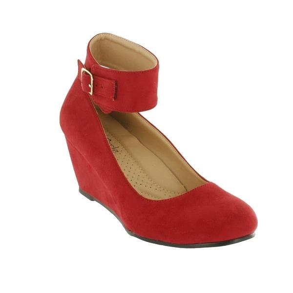 Red Circle Footwear Ontario Ankle Strap Comfort Wedge