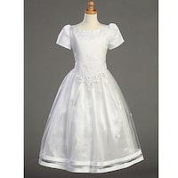 22a0f6bd858 Shop Girls White Satin Ribbon Tulle Overlay First Communion Dress 7 ...