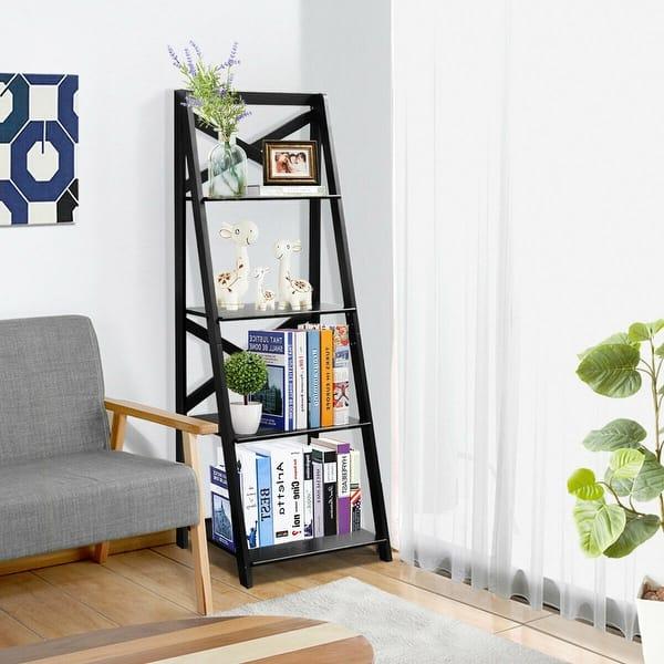 Shop Costway 4 Tier Ladder Shelf Bookshelf Bookcase Storage