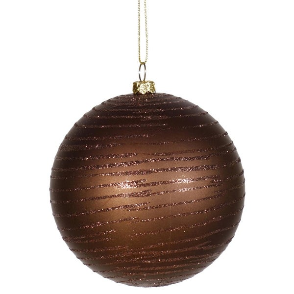 "Chocolate Brown Glitter Striped Shatterproof Christmas Ball Ornament 4"" (100mm)"