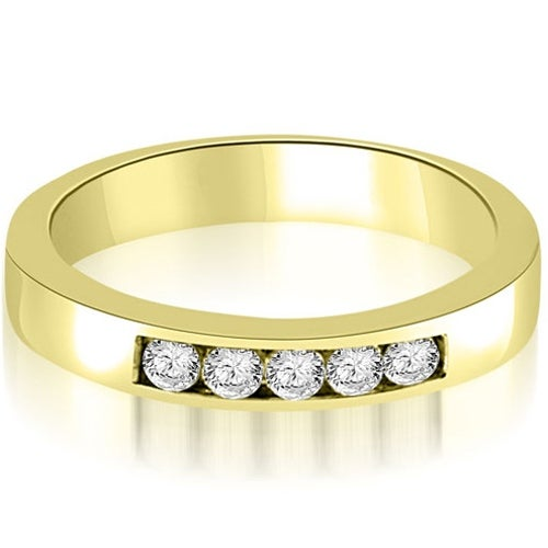 0.50 cttw. 14K Yellow Gold Round Diamond 5-Stone Channel Wedding Band
