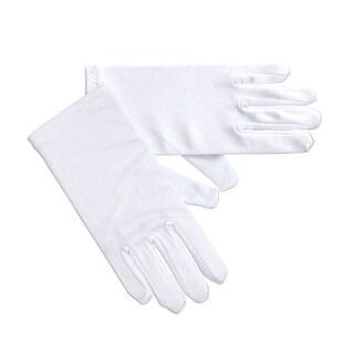Angels Girls White Satin Short Gloves Pair Baby Little Girls 3-16