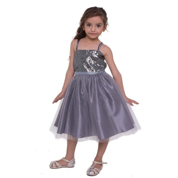 344e0be478e Shop Little Girls Grey Sequined Top Tulle Flower Girl Dress - Free Shipping  Today - Overstock - 18164427