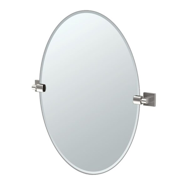 "Gatco 4079 Elevate 24"" Oval Beveled Wall Mounted Mirror with Satin Nickel Accents - N/A"
