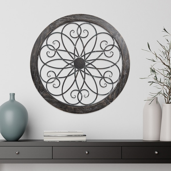 Hastings Home Metal and Wood Medallion Openwork Wall Decor. Opens flyout.