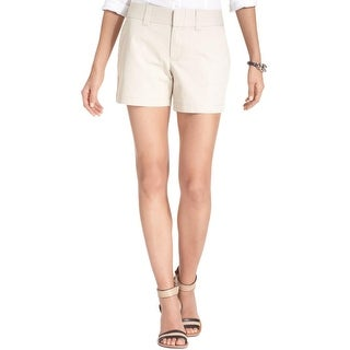 Tommy Hilfiger Womens Khaki, Chino Shorts Twill Solid