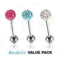 3 Pcs Pack of Assorted Color Surgical Steel Barbells with Multi Gem Ferido Balls - 14 GA