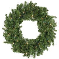 Commercial 8' Pre-Lit Canadian Pine Artificial Christmas Wreath - Clear Lights