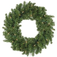 Commercial 8' Pre-Lit Canadian Pine Artificial Christmas Wreath - Clear Lights - green