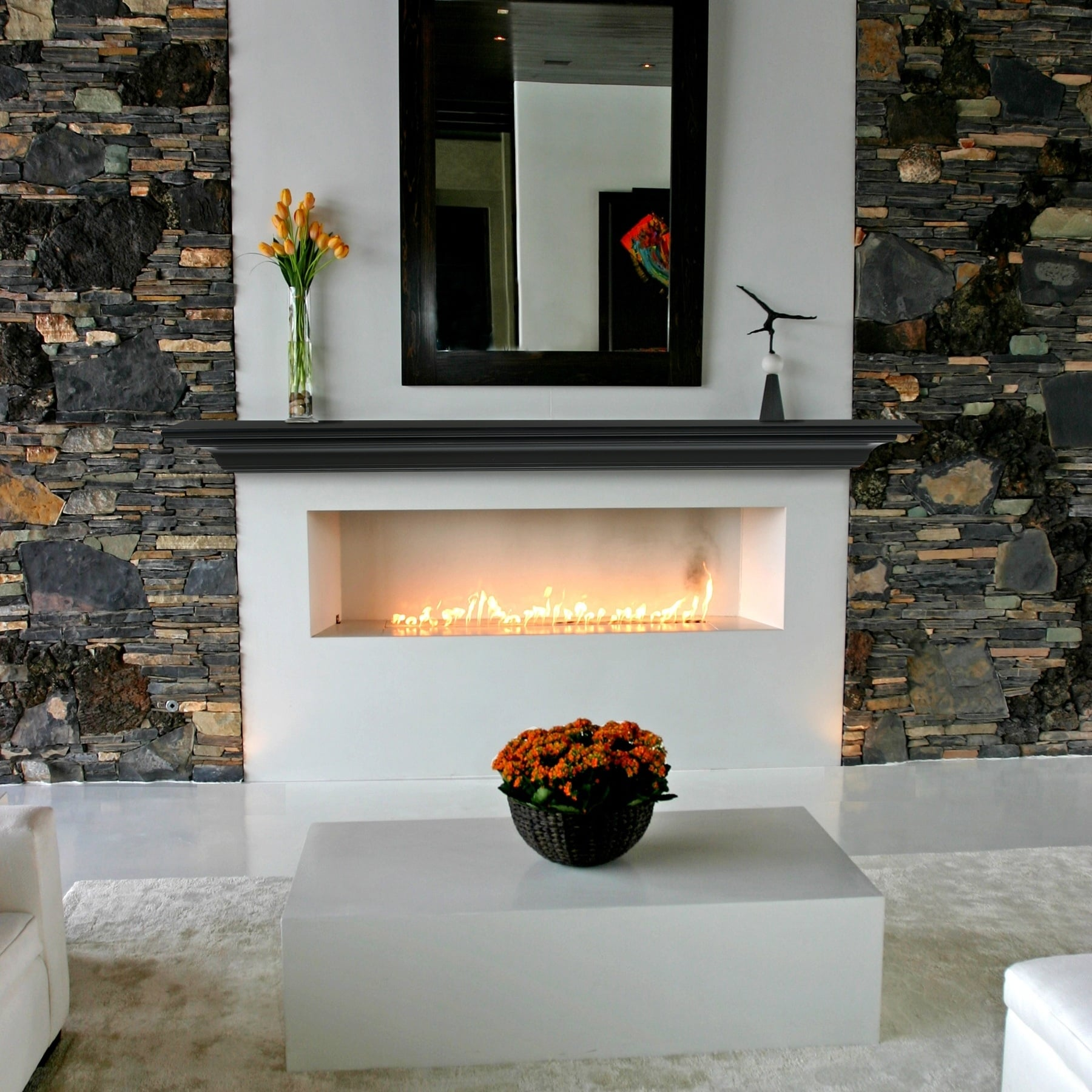 60 Black Painted Wood Mantel Shelf Overstock 29871830