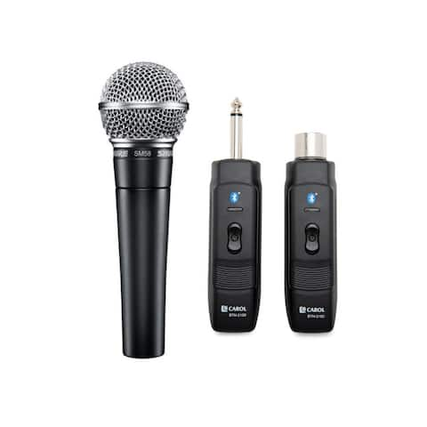 Shure SM58-LC Vocal Microphone w/ Bluetooth Module Adapter & Receiver