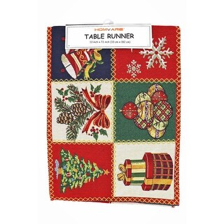 Homvare Holiday Tapestry Runner 13 x 72 - Christmas Patchwork