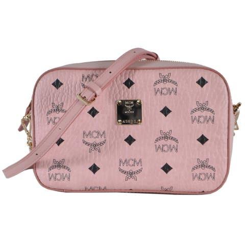 MCM Small Pink Coated Canvas Visetos Camera Bag Crossbody Purse