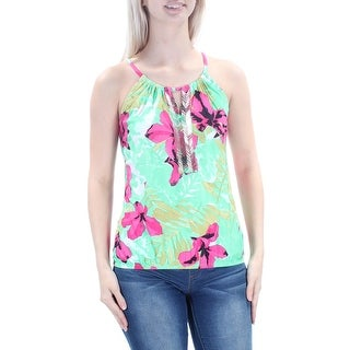 Womens Green Pink Floral Sleeveless Halter Top Size S