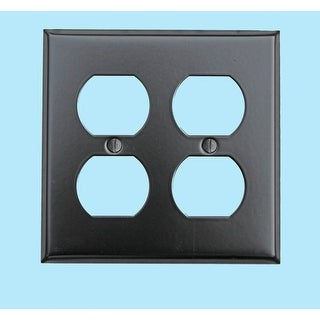 Switchplate Black Steel Double Outlet