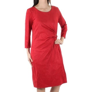 Womens Red 3/4 Sleeve Knee Length Shift Dress Size: S