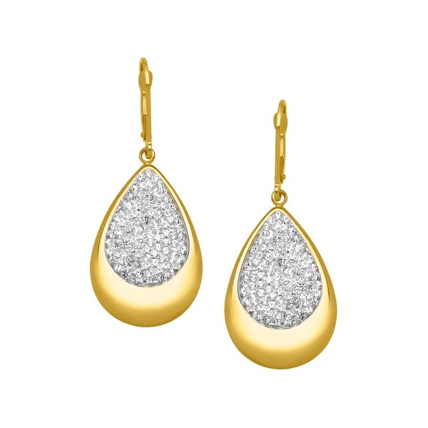 Crystaluxe Teardrop Earrings with Swarovski elements Crystals in 14K Gold-Plated Sterling Silver