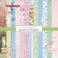 """12 Designs/2 Each - Scrapberry's Garden Of Delights Paper Pack 6""""X6"""" 24/Pkg"""
