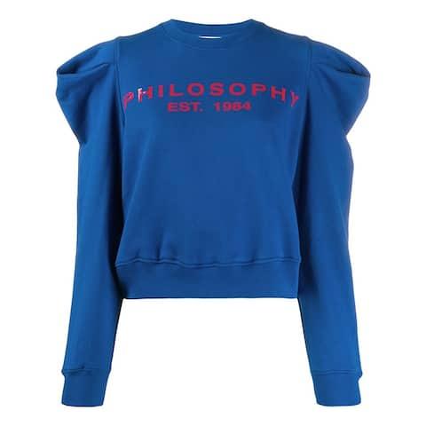 Philosophy di Lorenzo Serafini Blue Logo Print Sweatshirt