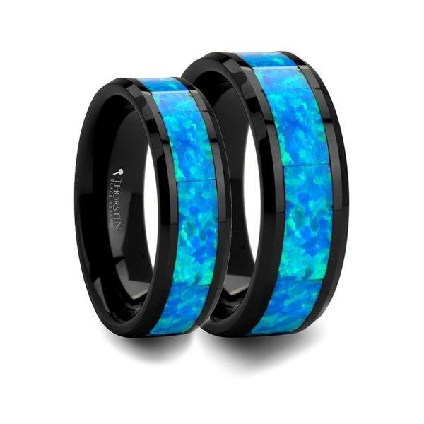 Matching Ring Set Black Ceramic Ring With Blue Green Opal Inlay