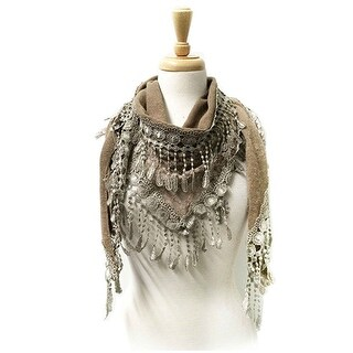 Women's Fancy Lace Fringes Triangle Scarf - Khaki