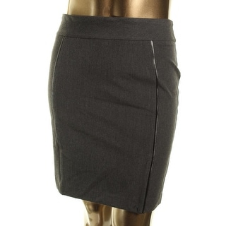Rekucci Womens Heathered Faux Leather Trim Pencil Skirt - 16