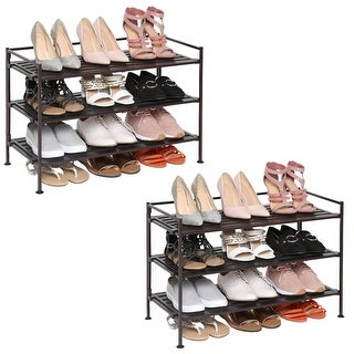 Seville Classics 3-tier Resin Wood Composite Shoe Rack (Set of 2)