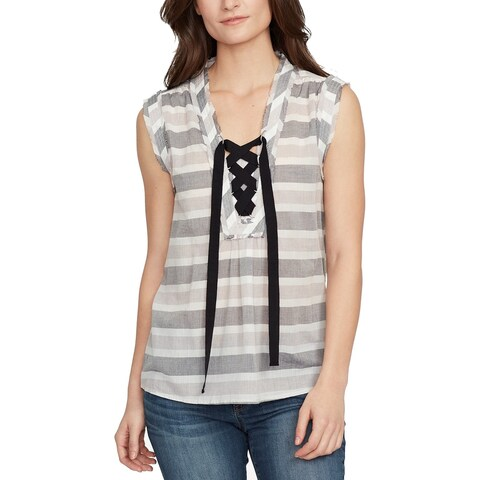 William Rast Gray Womens Size XXL Plus Striped Lace-Up Blouse