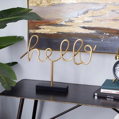 Gold Iron Glam Decorative Sign 14 x 19 x 2 - 19 x 2 x 14