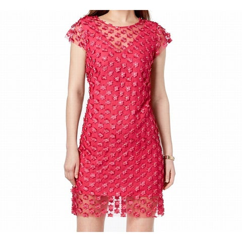 Nanette Lepore Pink Womens Size 8 Floral Embroidered Sheath Dress