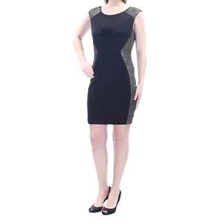 Womens Black Sleeveless Above The Knee Sheath Dress Size: 9