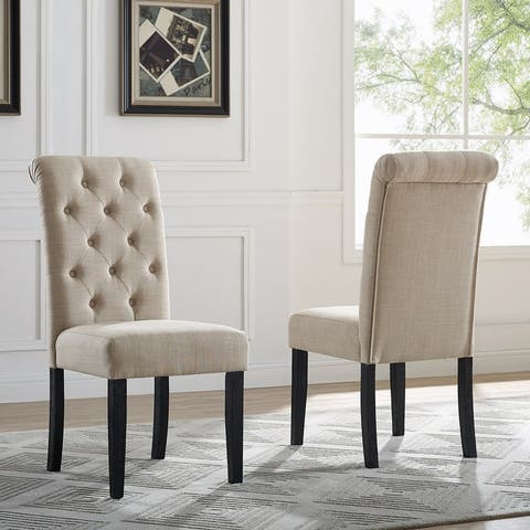 Leviton Solid Wood Tufted Parsons Dining Chair (Set of 2)