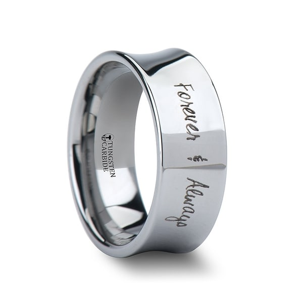 THORSTEN - Handwritten Engraved Concave Tungsten Ring Polished - 7mm